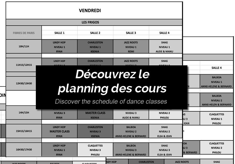 Planning des cours de danse swing